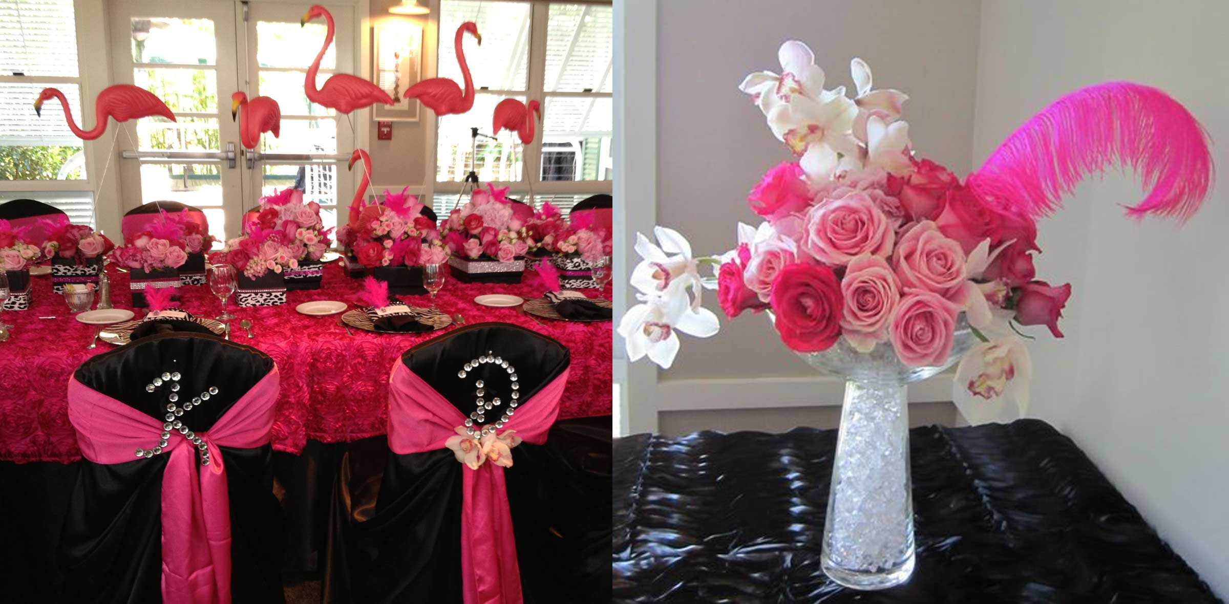 Flamingo Birthday Party, pink floral design, San Diego,
