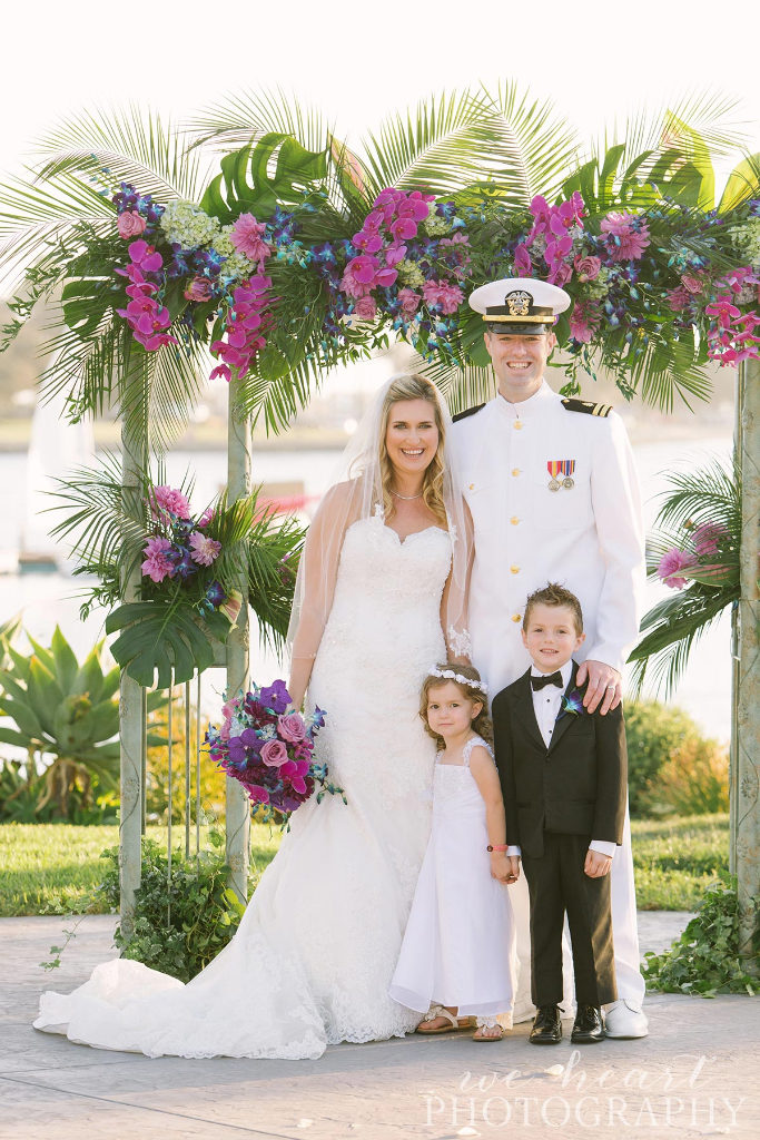 Paradise Point Resort venue, Purple and White wedding flowers, San Diego navy wedding ideas